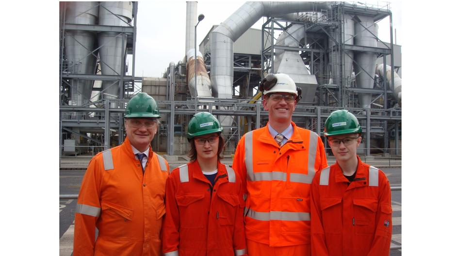 Vivergo Graham Stuart MP (left) with apprentices and MD Mark Chesworth.