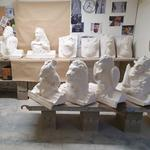 06 A dozen of plaster maquettes in the workshop