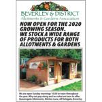 BEVERLEY ALLOTMENT & GARDEN SHOP OPEN AGAIN FOR THE 2020 SEASON